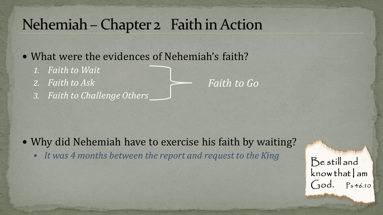 Nehemiah – Chapter 2 Faith in Action
