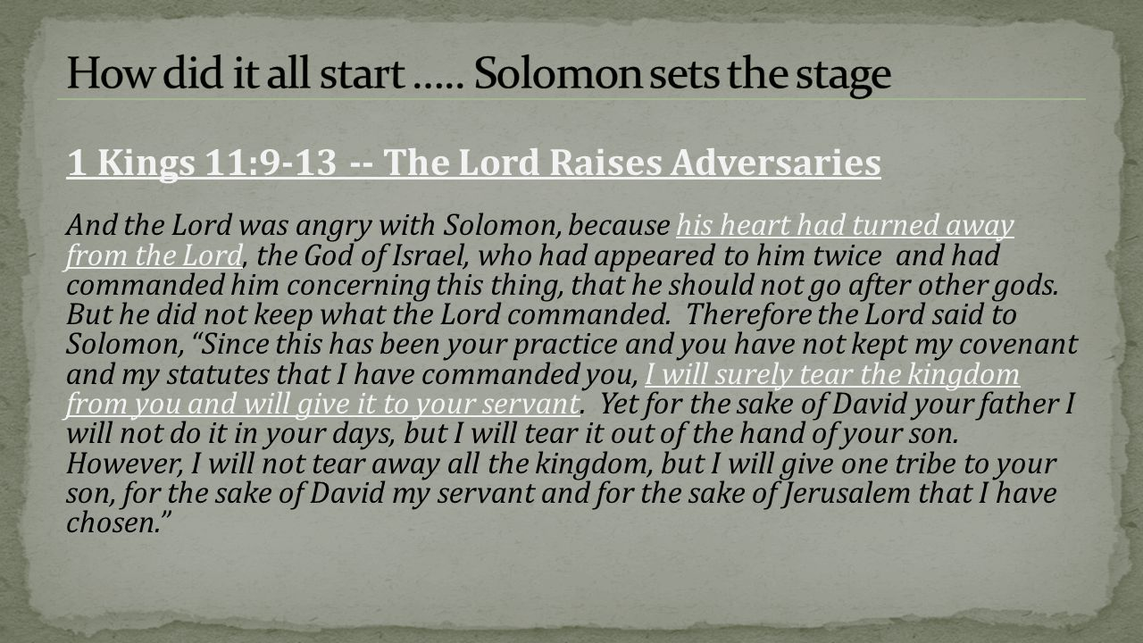 How did it all start ….. Solomon sets the stage