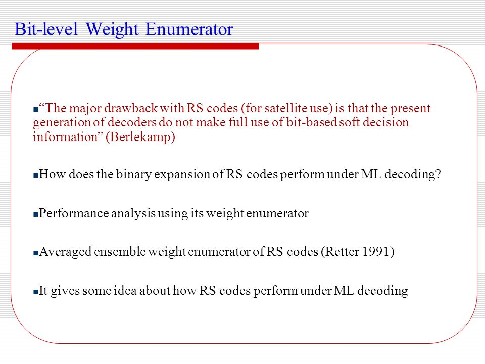 Bit-level Weight Enumerator