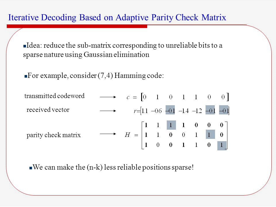 Iterative Decoding Based on Adaptive Parity Check Matrix