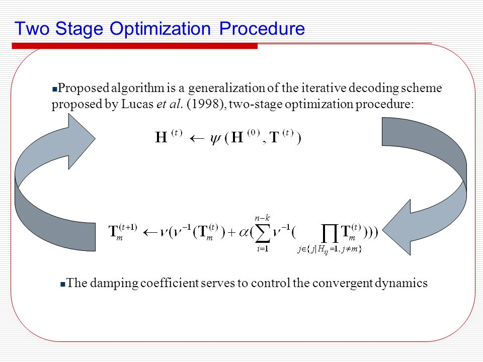 Two Stage Optimization Procedure