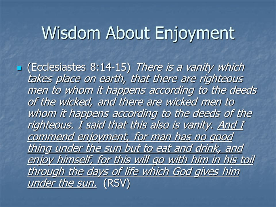 Wisdom About Enjoyment