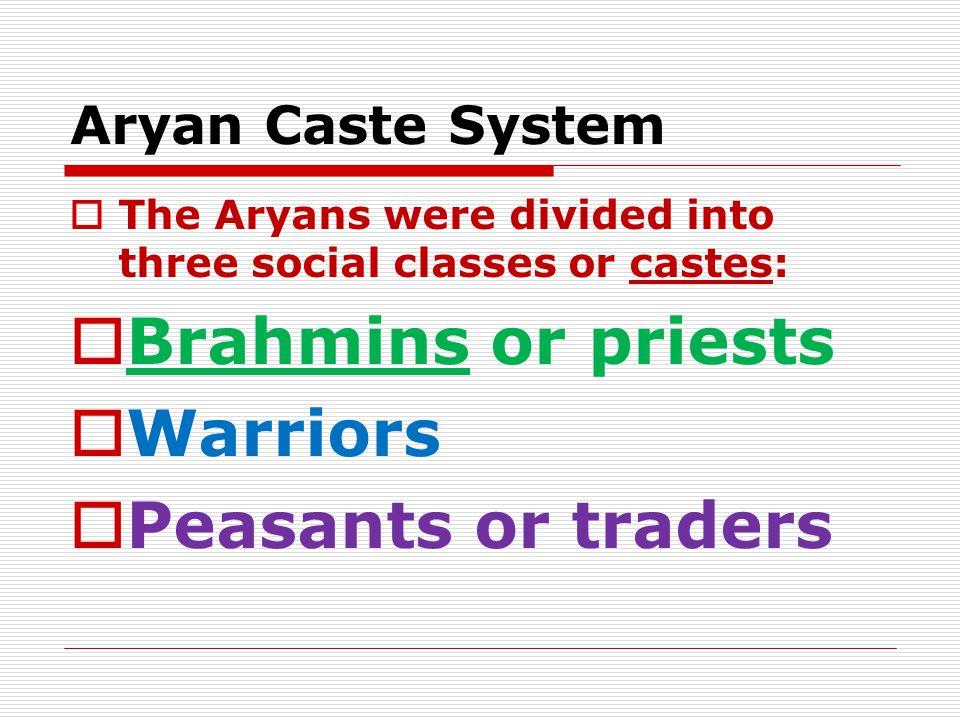 Brahmins or priests Warriors Peasants or traders Aryan Caste System