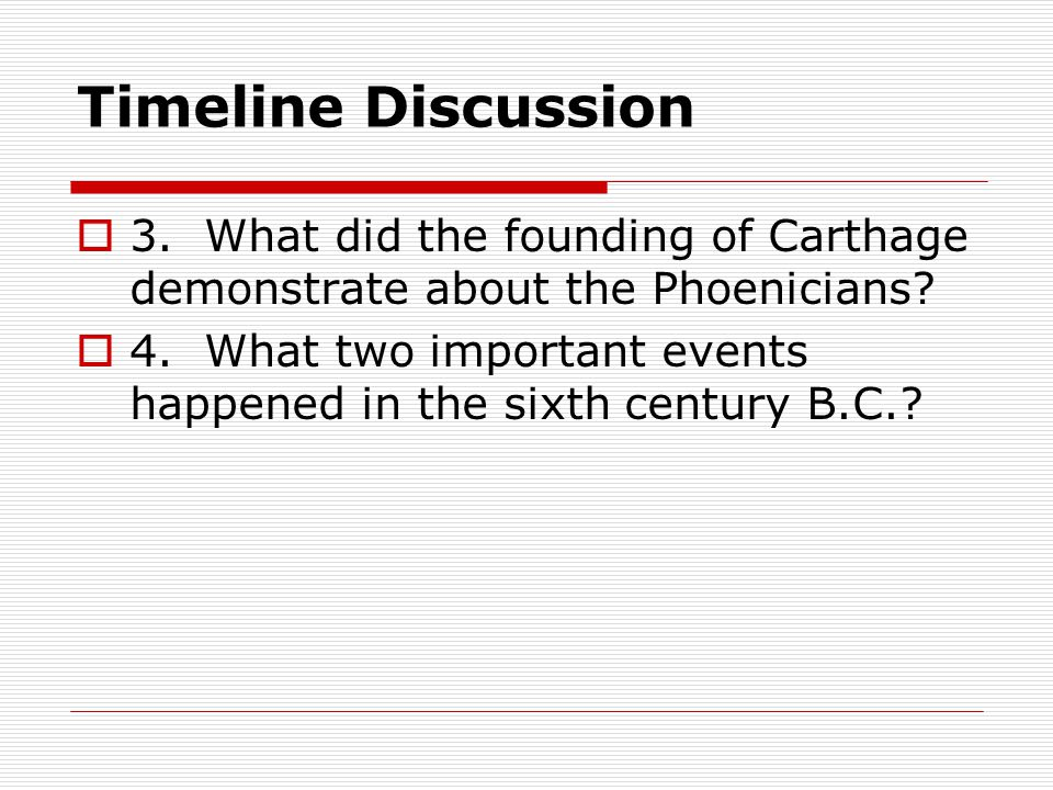 Timeline Discussion 3. What did the founding of Carthage demonstrate about the Phoenicians