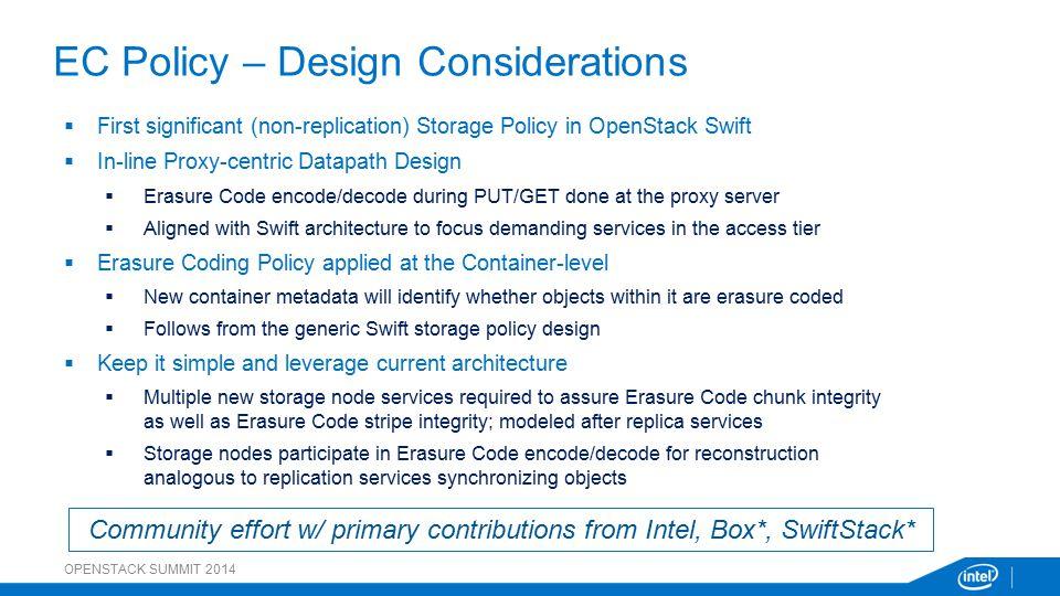 EC Policy – Design Considerations