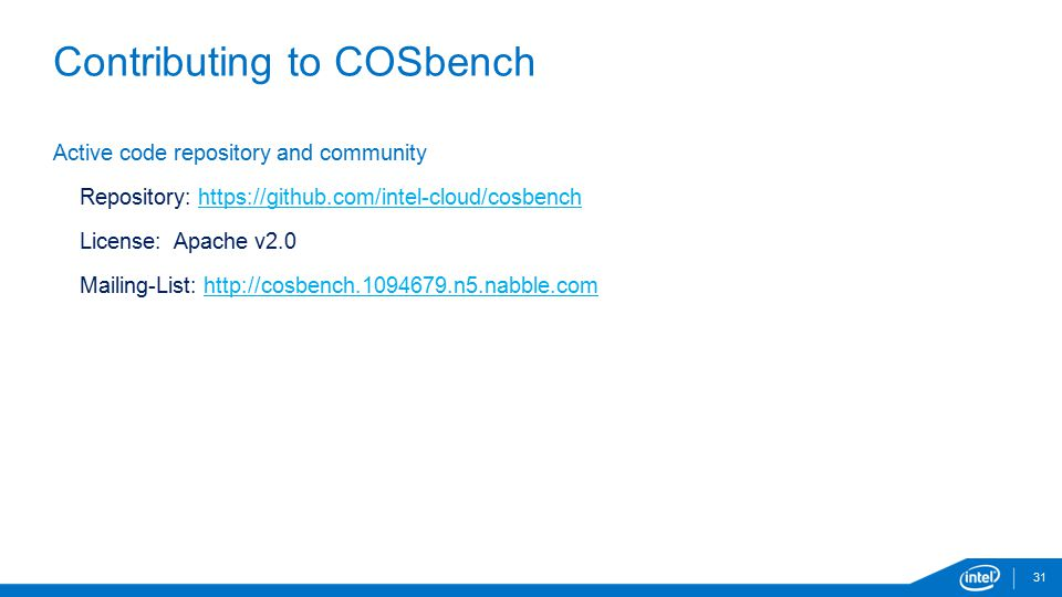 Contributing to COSbench