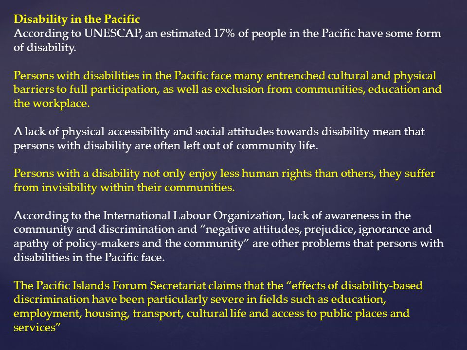 Disability in the Pacific