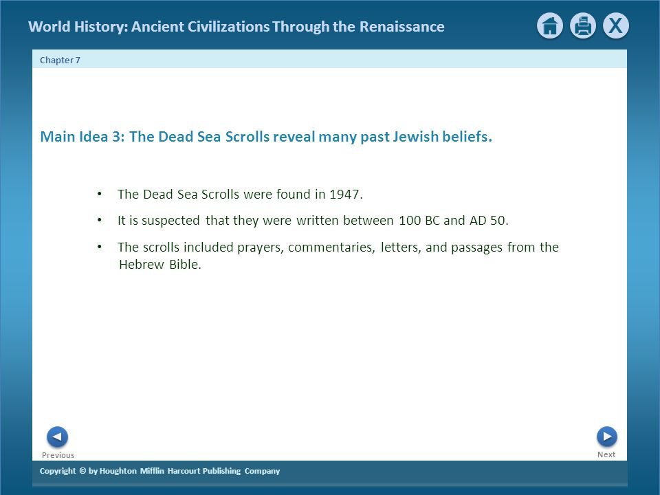 Main Idea 3: The Dead Sea Scrolls reveal many past Jewish beliefs.