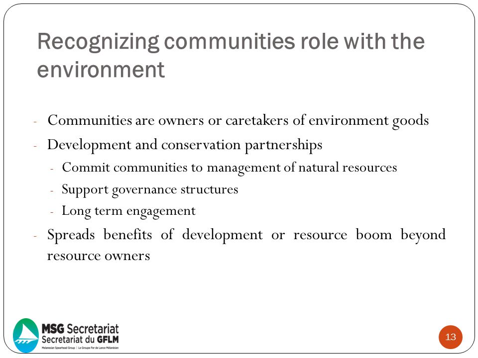 Recognizing communities role with the environment