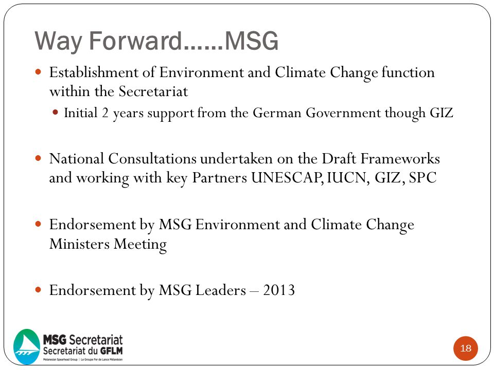 Way Forward……MSG Establishment of Environment and Climate Change function within the Secretariat.