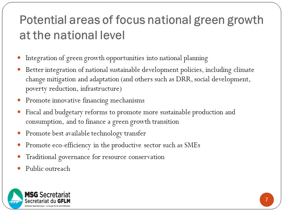 Potential areas of focus national green growth at the national level