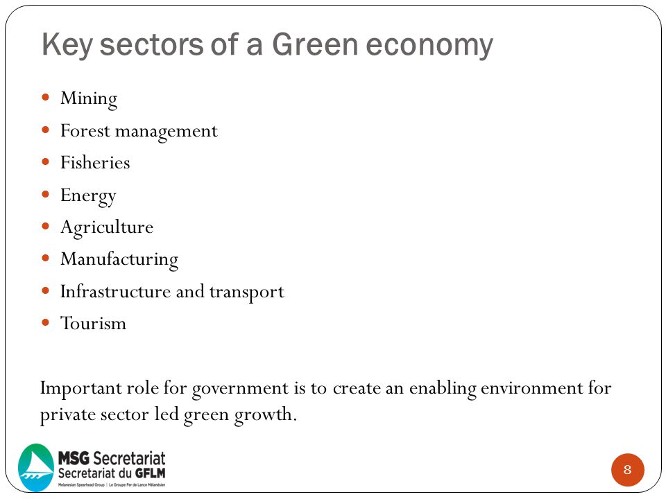 Key sectors of a Green economy