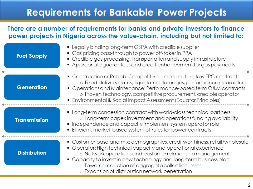 Requirements for Bankable Power Projects