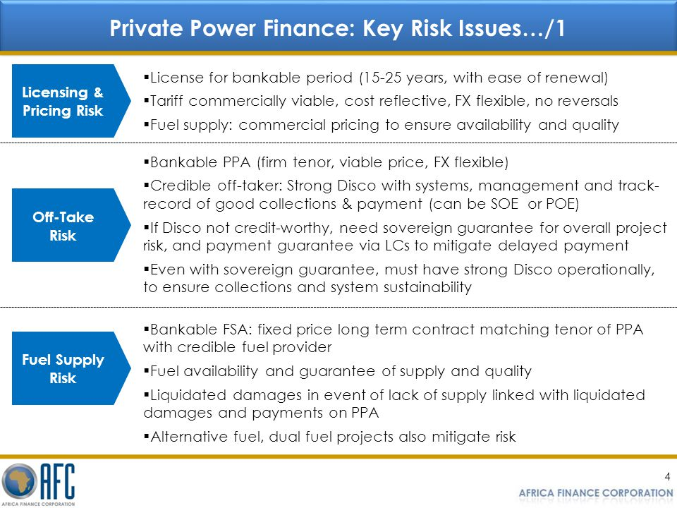Private Power Finance: Key Risk Issues…/1 Licensing & Pricing Risk