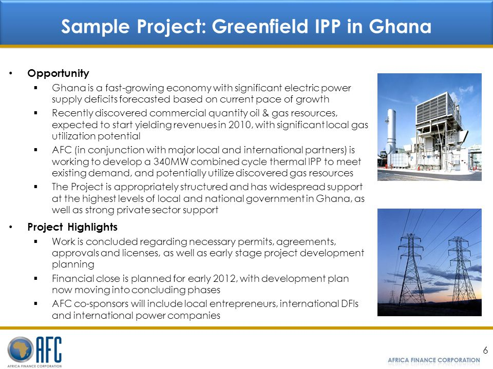 Sample Project: Greenfield IPP in Ghana