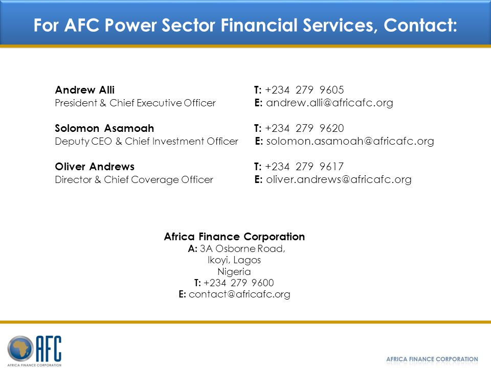 For AFC Power Sector Financial Services, Contact: