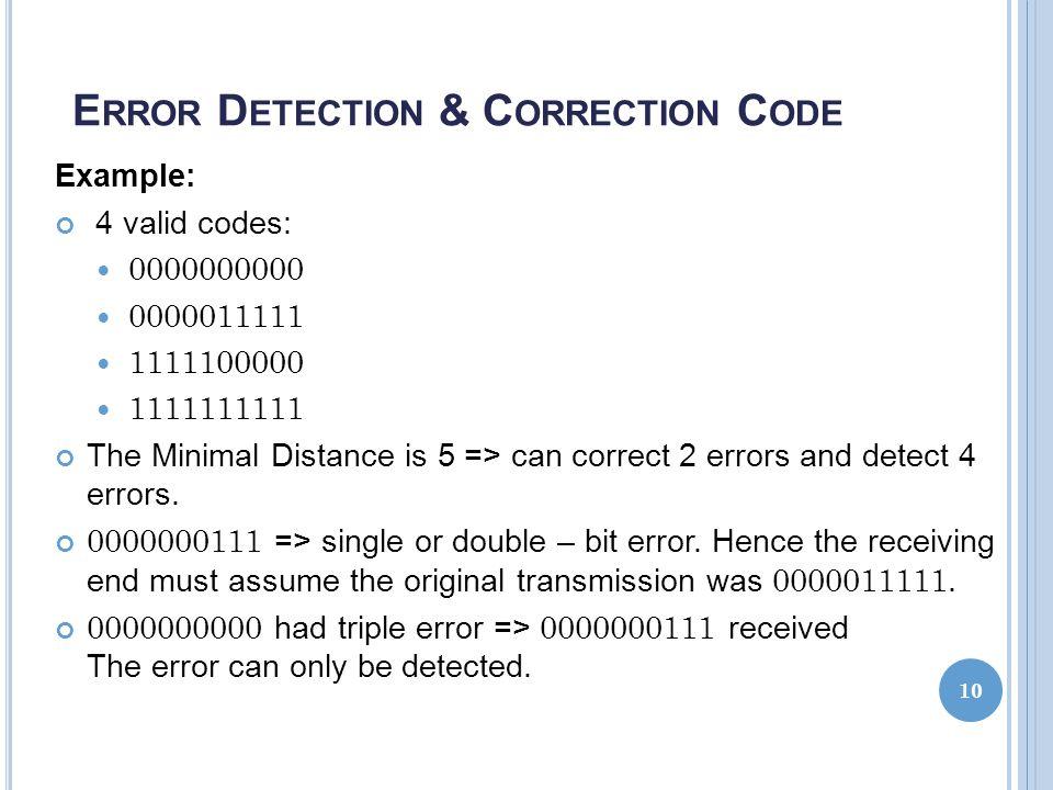 Error Detection & Correction Code