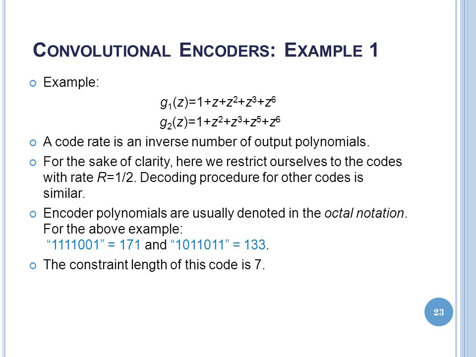 Convolutional Encoders: Example 1