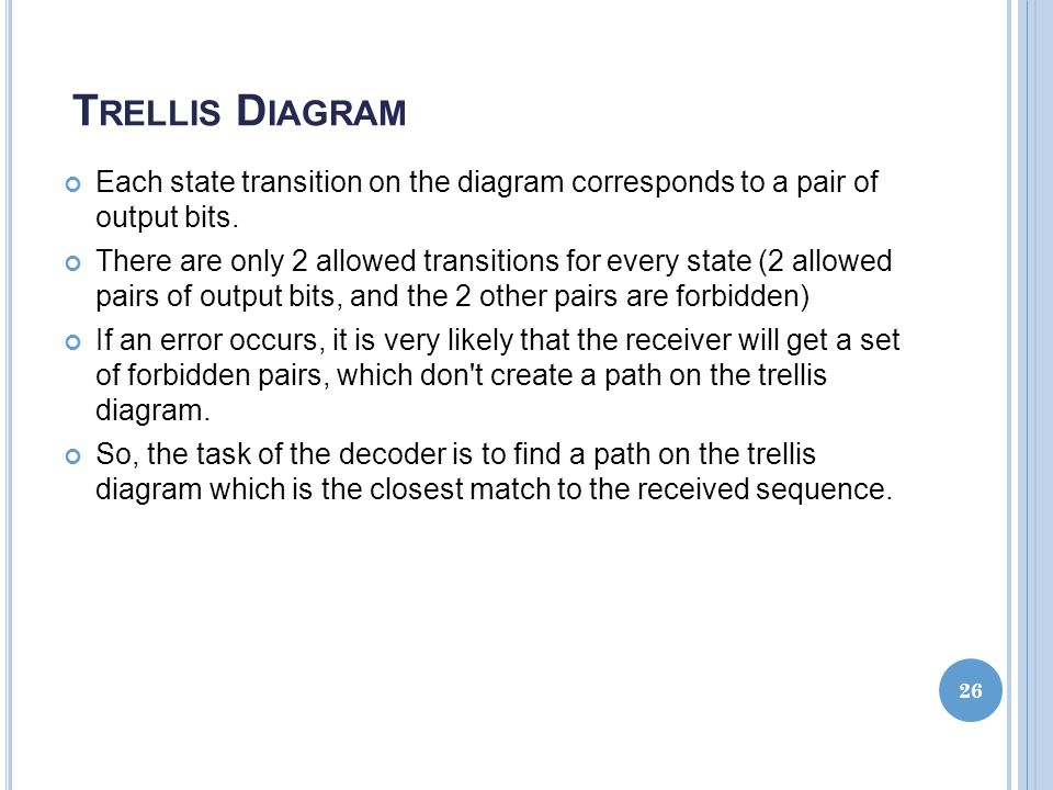 Trellis Diagram Each state transition on the diagram corresponds to a pair of output bits.