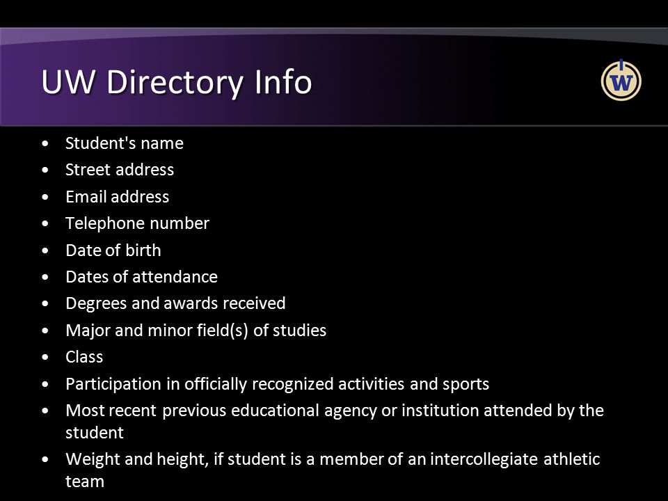 UW Directory Info Student s name Street address Email address