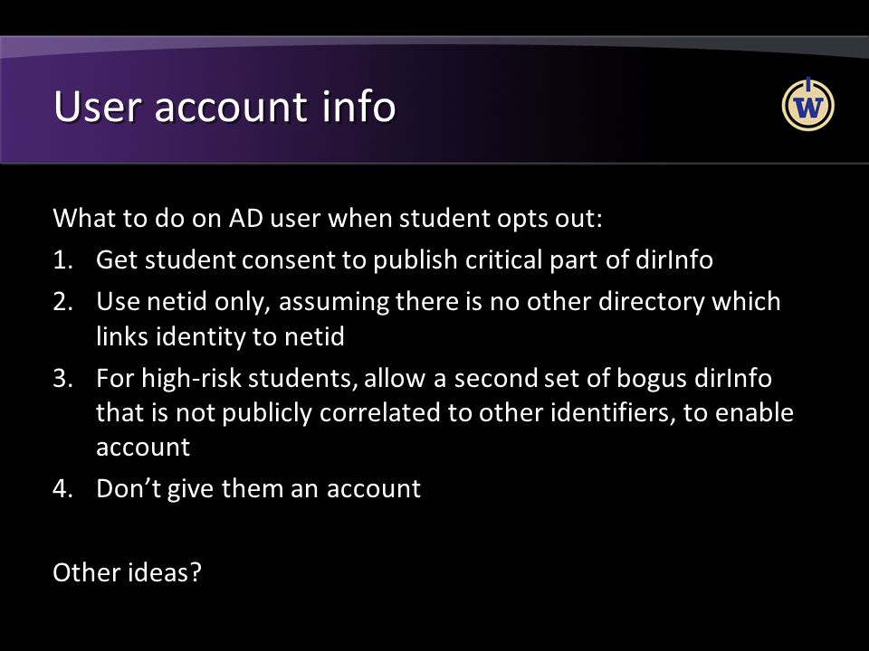 User account info What to do on AD user when student opts out: