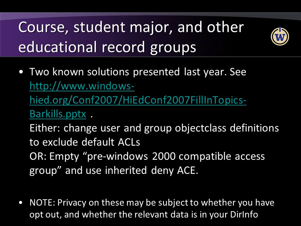 Course, student major, and other educational record groups
