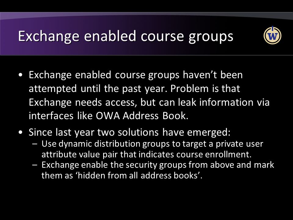 Exchange enabled course groups