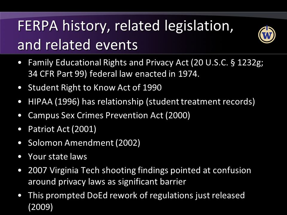 FERPA history, related legislation, and related events