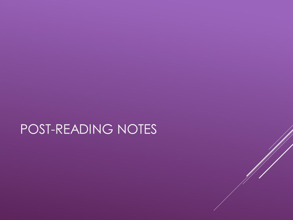 Post-reading notes