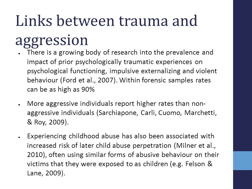 Links between trauma and aggression