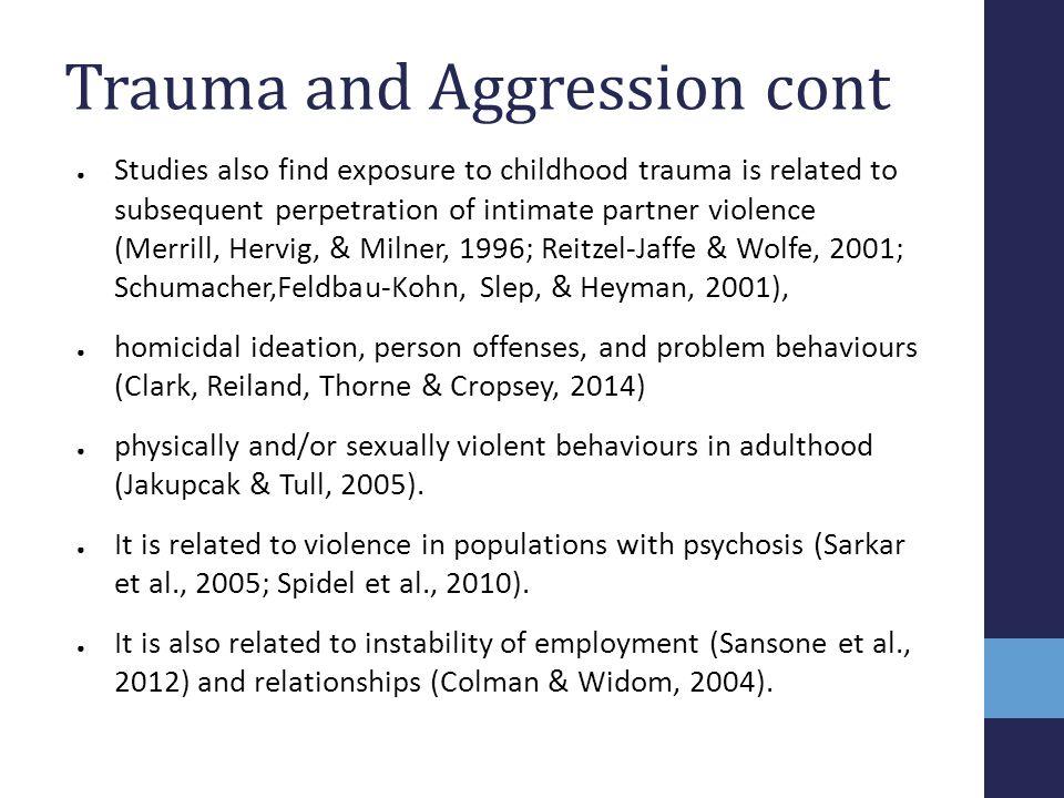 Trauma and Aggression cont