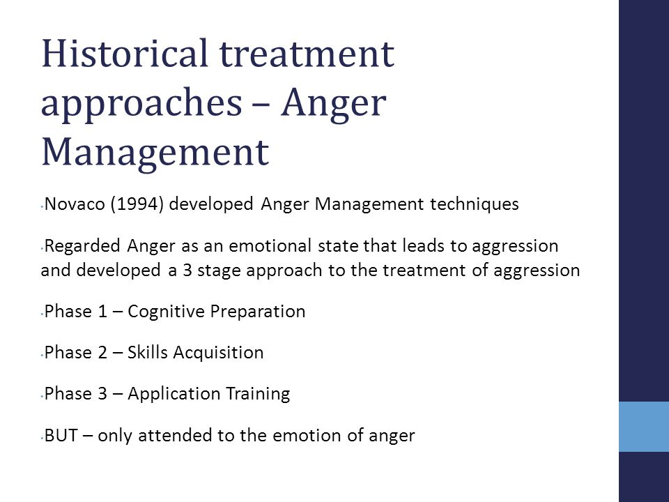 Historical treatment approaches – Anger Management