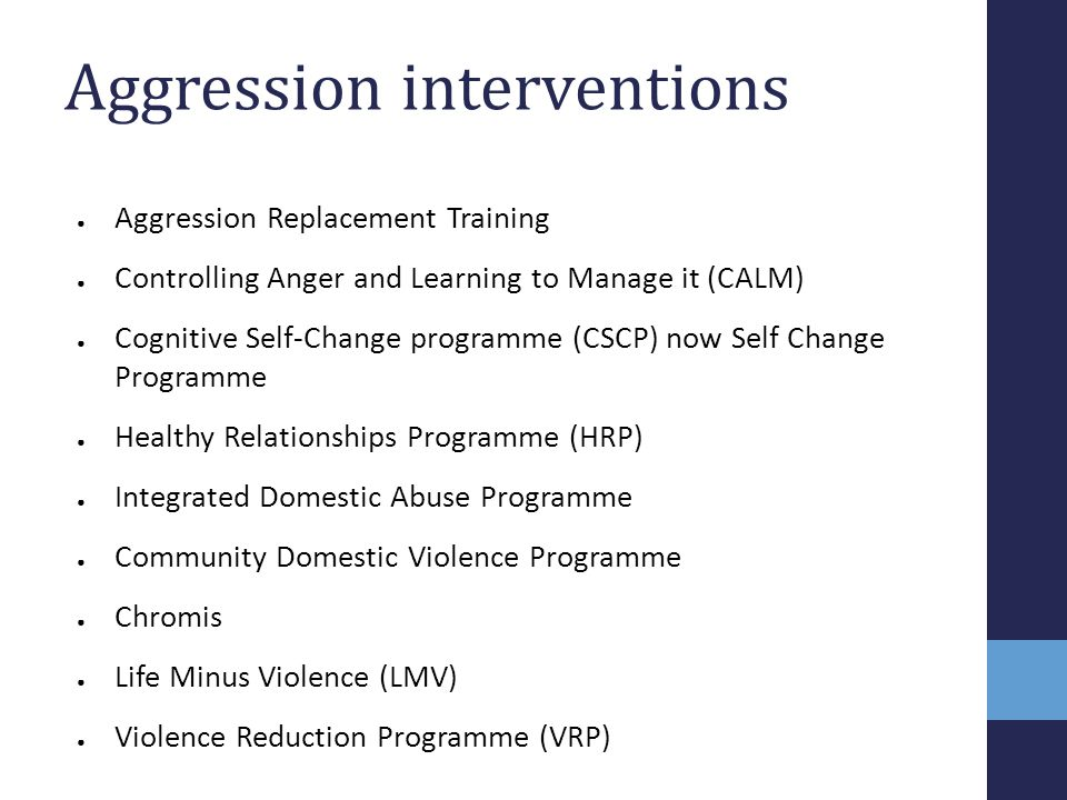 Aggression interventions