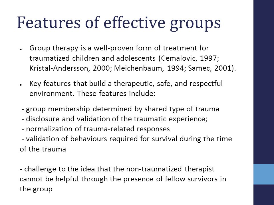 Features of effective groups