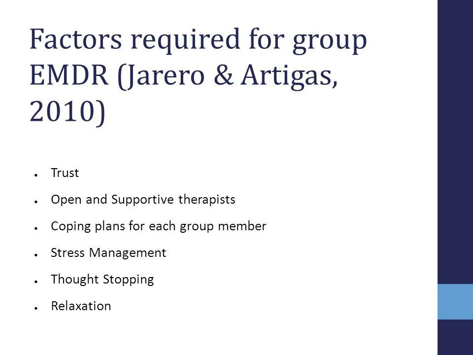 Factors required for group EMDR (Jarero & Artigas, 2010)