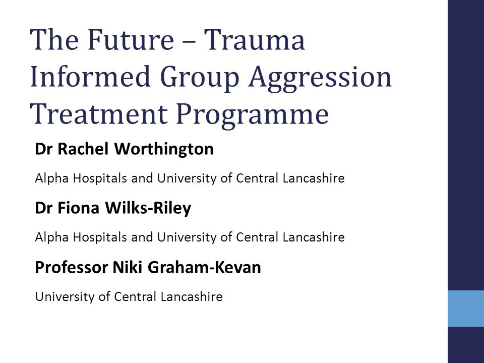 The Future – Trauma Informed Group Aggression Treatment Programme