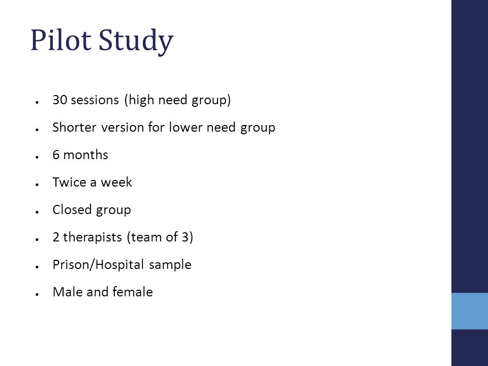 Pilot Study 30 sessions (high need group)