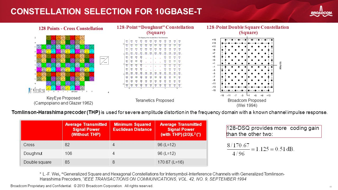Constellation selection for 10GBase-T