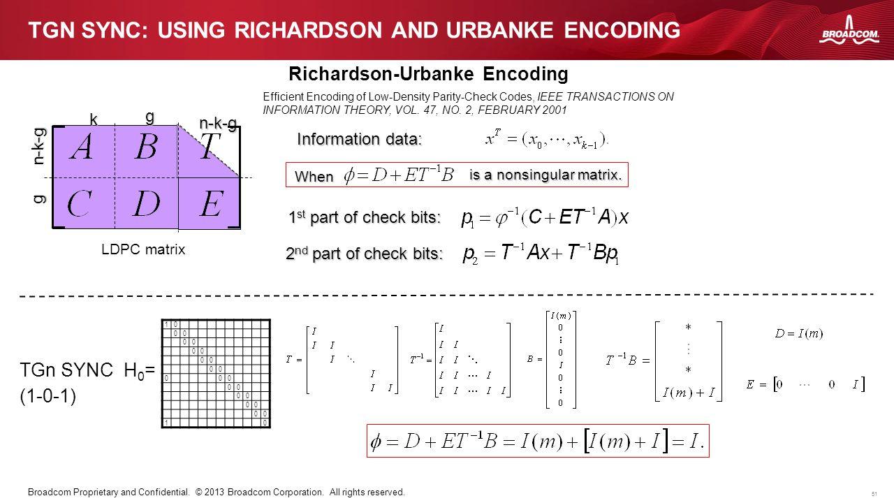 TGn Sync: using Richardson and Urbanke encoding