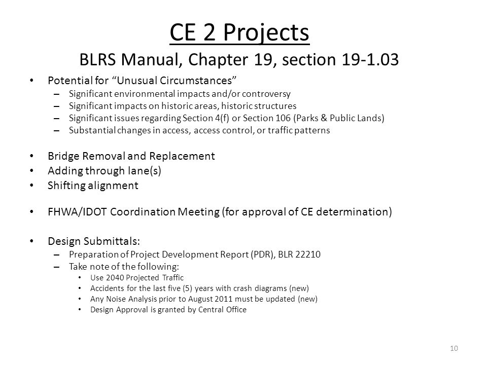 CE 2 Projects BLRS Manual, Chapter 19, section 19-1.03