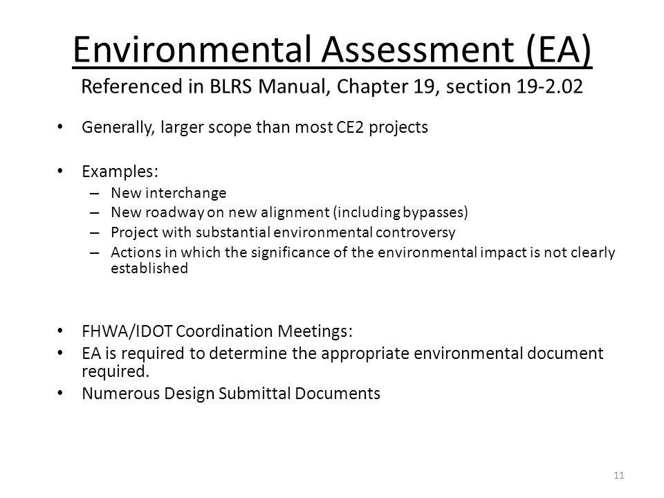 Environmental Assessment (EA) Referenced in BLRS Manual, Chapter 19, section 19-2.02