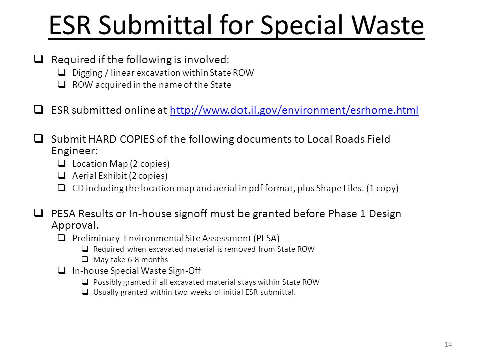 ESR Submittal for Special Waste
