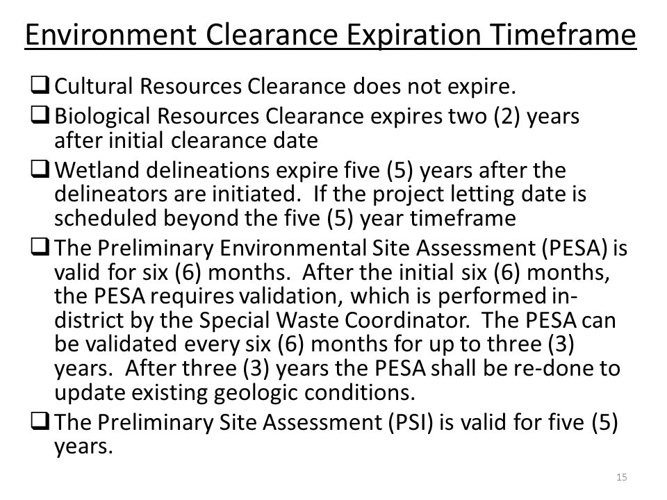 Environment Clearance Expiration Timeframe