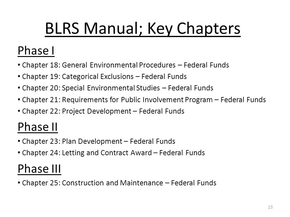BLRS Manual; Key Chapters