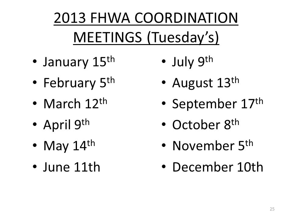 2013 FHWA COORDINATION MEETINGS (Tuesday's)