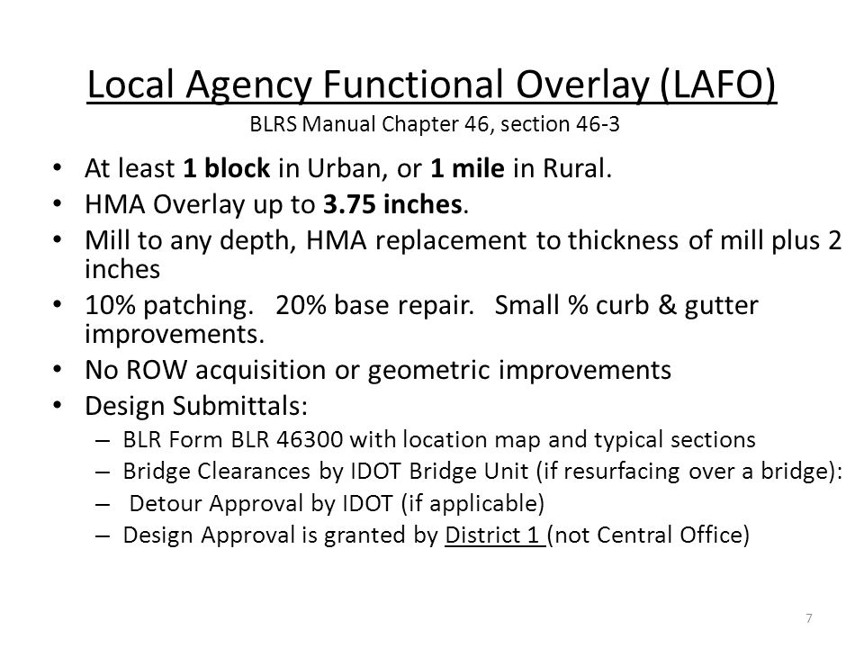 Local Agency Functional Overlay (LAFO) BLRS Manual Chapter 46, section 46-3