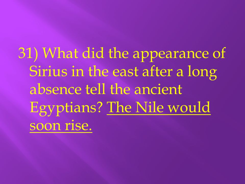 31) What did the appearance of Sirius in the east after a long absence tell the ancient Egyptians.