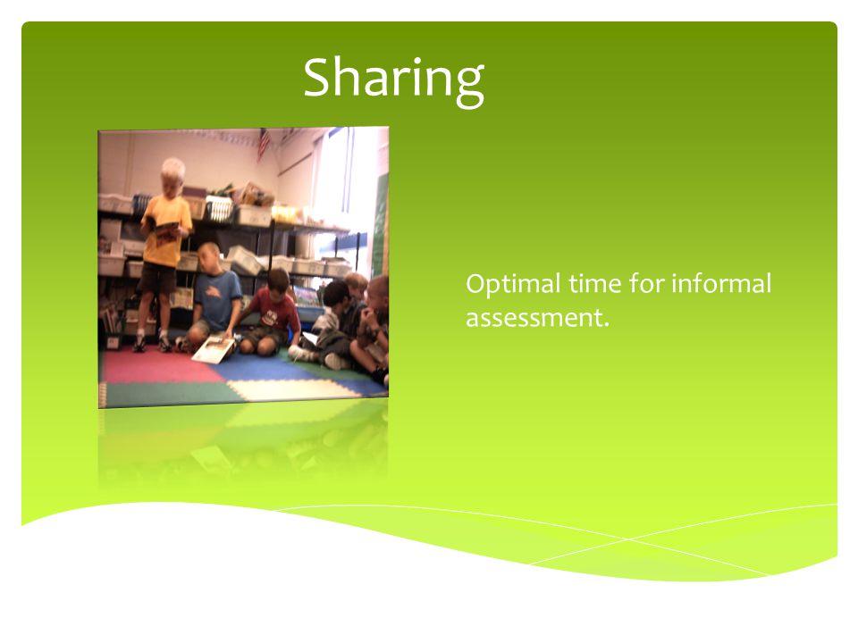 Sharing Optimal time for informal assessment.