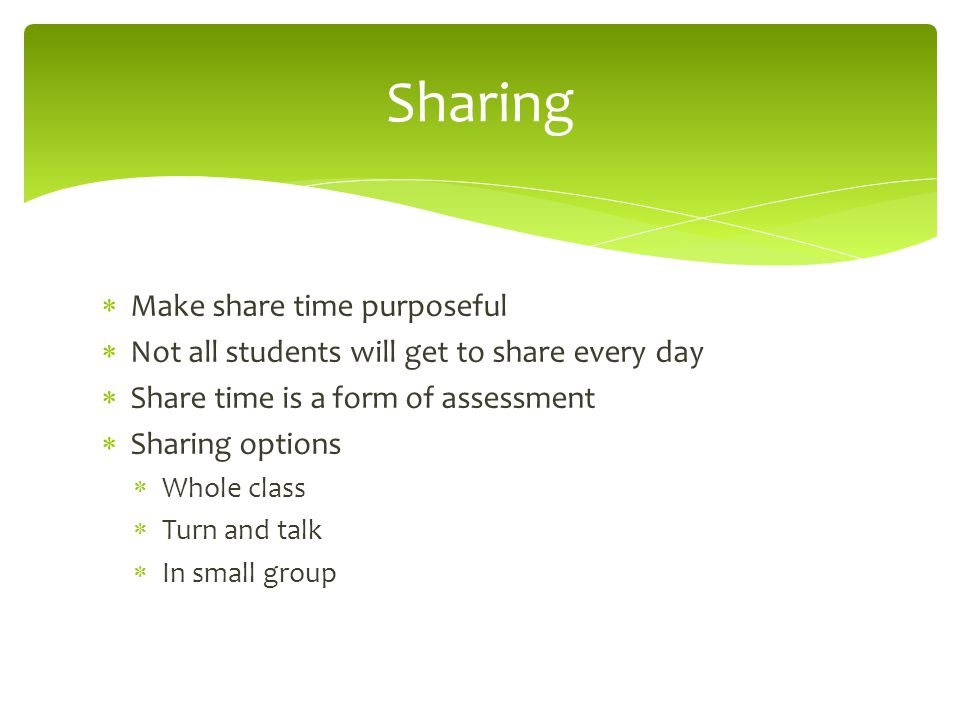 Sharing Make share time purposeful