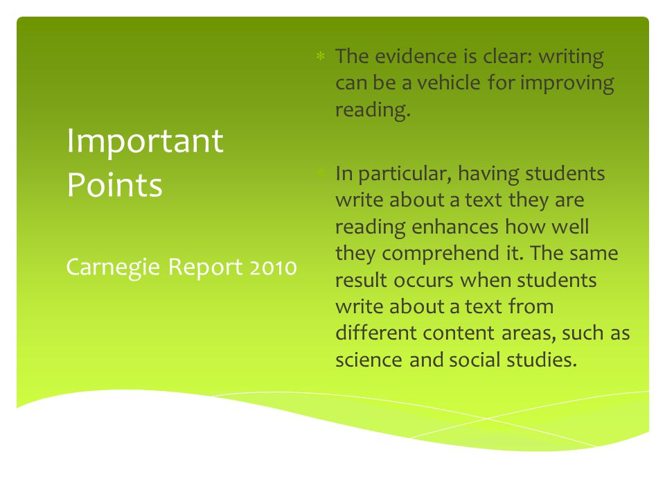 Important Points Carnegie Report 2010